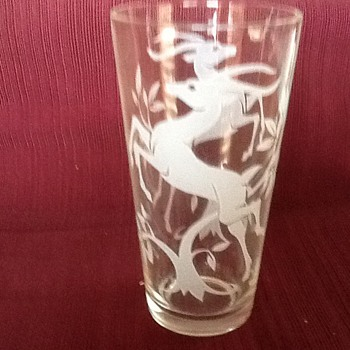 Gazelle etched beverage glassware