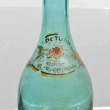 Antique TORPEDO Rounded Bottom Bottle w/ Decal - Bottles
