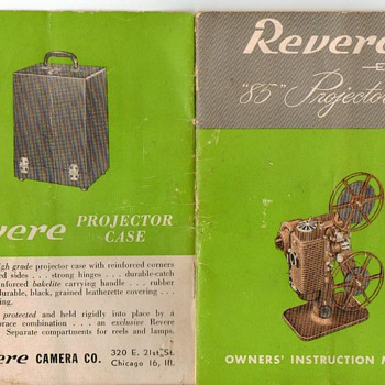 "Owners Manual Revere ""85"" Projector - Cameras"
