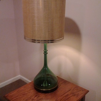 Green Glass Flask/Beaker 1960's Lamp?? - Mid Century Modern