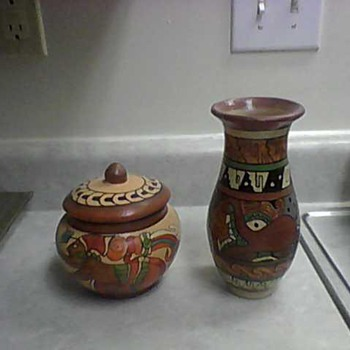AZTEC WARRIORS JAR AND OCTOPUS VASE - Art Pottery