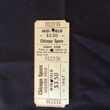 SUPER RARE SPORTS TICKET  CHICAGO SPURS  PRO  SCOCCER  1967