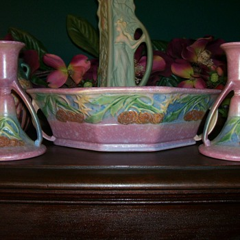 Roseville Baneda Console Set - Art Pottery
