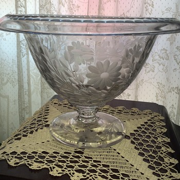 Pittsburgh Glass? LARGE Pedestal Bowl, Rolled Edge - Glassware