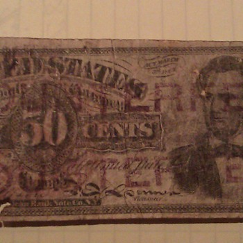 US Fractional Note 50 Cents, Stamped as Counterfeit - US Paper Money