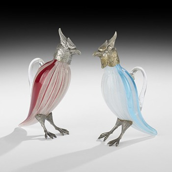 Glass and Silvered Metal Cockatiels,