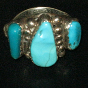 Navajo Turquoise Ring Signed A. Lee
