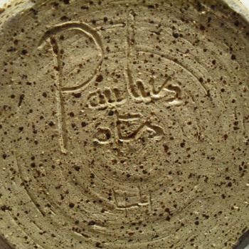 Stoneware jar with lid signed Paulus