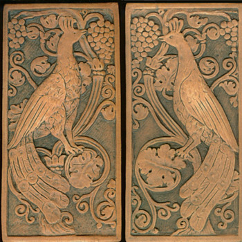 California Art Tile Peacocks - Art Pottery
