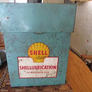 Shellubrication metal box. - Petroliana