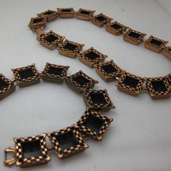 Renoir Ebony Lace bracelet, necklace & Matisse ear clips