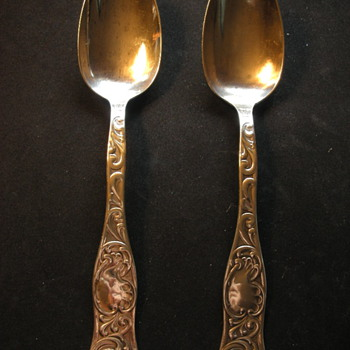 Two Sterling Serving Spoons Elaborate Design - Sterling Silver