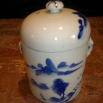 Asian Blue & White jar with lid