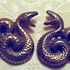 Pair pressed metal coiled serpent dress clips