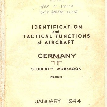 Identification &amp; Tactical Functions of Aircraft~Germany, Jan., 1944 - Military and Wartime