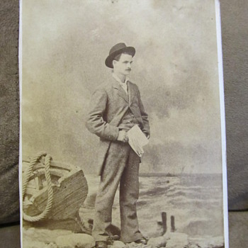 Notman photograph of man on beach -- looking to identify the man