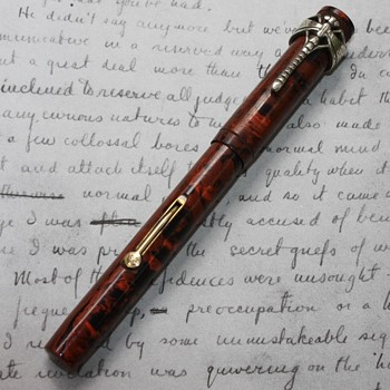 C. 192os Bayard Red Ripple Fountain Pen with Silver Dragonfly Clip - Office