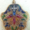 Colorful plique a jour enamel diamonds gold pendant.