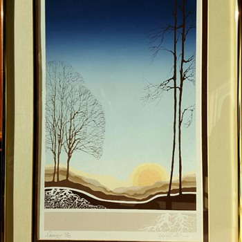 """Dawning"" Serigraph Print by Will Allen - Mid-Century Modern"