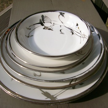 white china with platinum trim beautifully mismatched set