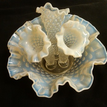 FENTON FRENCH OPALESCENT HOBNAIL EPERGNE