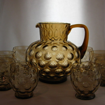 Amber Pitcher and Tumblers - Glassware