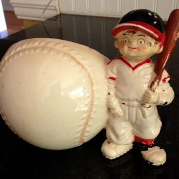 Vintage baseball baby planter