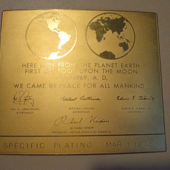 24k Gold Plated Apollo 11 Lunar Plaque