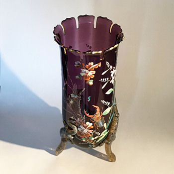 Harrach Aesthetic Period Amethyst Enameled Lizard Vase