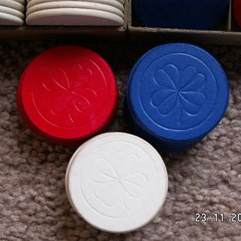 2 Vintage Clay Poker Chips Sets ~Four Leafed Clover Engraved - Games