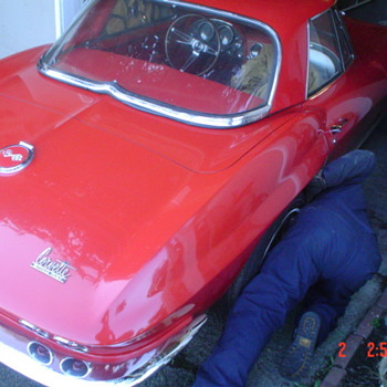 My 67 vette,  garage AutoArt and a jacket I found in a dark old shack