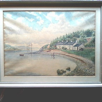 "Watercolor Landscape / 17""x 13"" Framed / Marked Cunningham on Frame /Circa 19th Century - Visual Art"