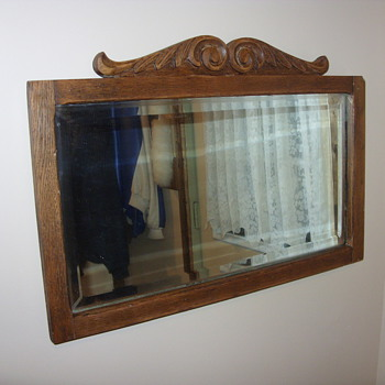 oak beveled glass hanging mirror