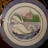 """""""Shwarzenhammer"""" Bavarian Porcelain Serving Plate / Swan Scene With Purple Lusterware Border/Circa 1900-20"""