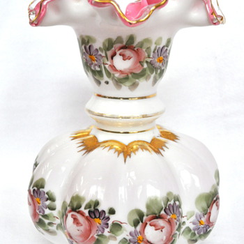 Fenton Rose Pattern Vase - Glassware