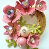 Vintage enamel flower brooch
