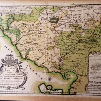 Antique French Map 1600's-1700's