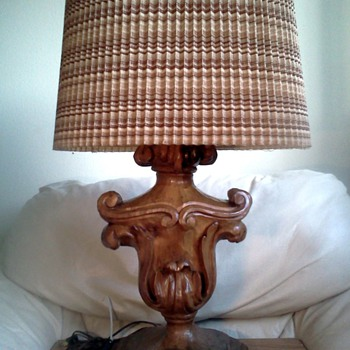 Unusual Wood Carved Lamp