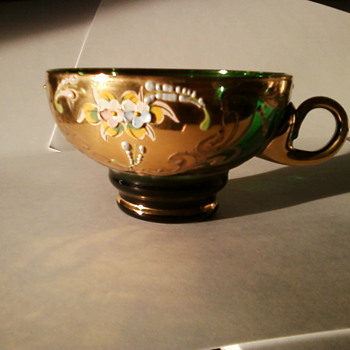 18-24K Gold Enameled Green Glass Cup - Glassware