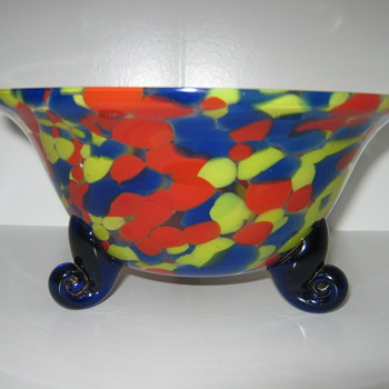 Czechoslovakia Spattered Glass Cobalt scrolled footed bowl  ca. 1920's 30's - Art Glass