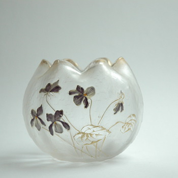 "art nouveau acid etched and enamel vase by CRISTALERIE DE PANTIN, legras & cie, model ""boule chinoise"""