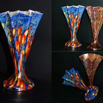 Kralik Millefiori Iridized star/fan vase  Pair of Awesome Blue - Art Glass