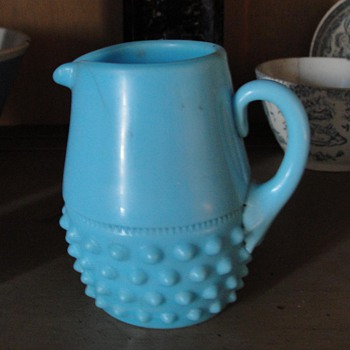 blue milk glass creamer hobnail applied handle - Glassware