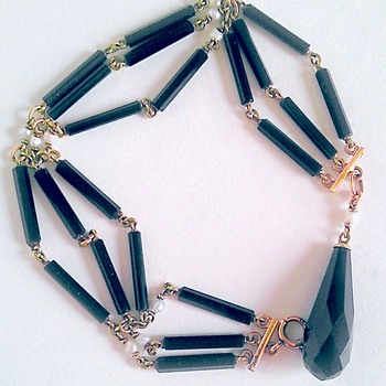 Victorian/Edwardian 14k onyx & pearl bracelet. - Fine Jewelry