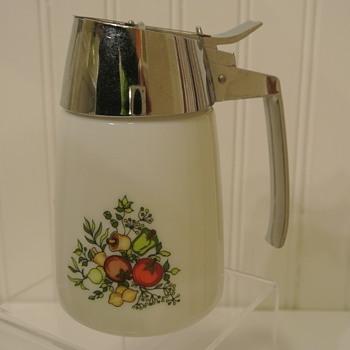 "Vintage  ""Spice of Life"" Santa Barbara Milk Glass Creamer/Syrup Dispenser"