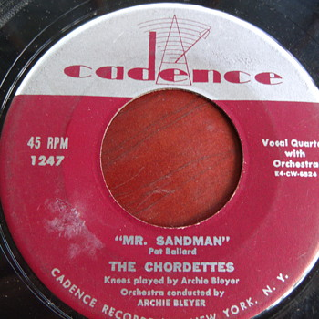 "1954 The Chordettes ""Mr Sandman"" 45rpm"