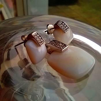 Sterling Silver MOP Pendant & Crystal Earrings Flea Market Find $7.00 - Fine Jewelry