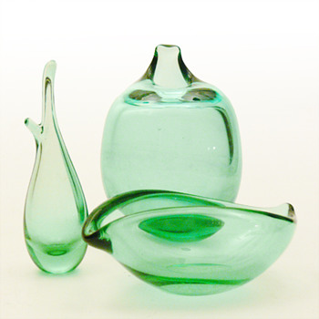 Sgrn (Sea green) coloured items, Per Ltken (Holmegaard, 1950s) - Art Glass