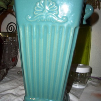 A Teal Vase Signed ???? Can't make it out !!  Help ! - Art Pottery