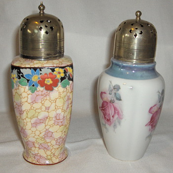 Two Vintage Porcelain 1930s Sugar Casters With EPNS Fancy Lids